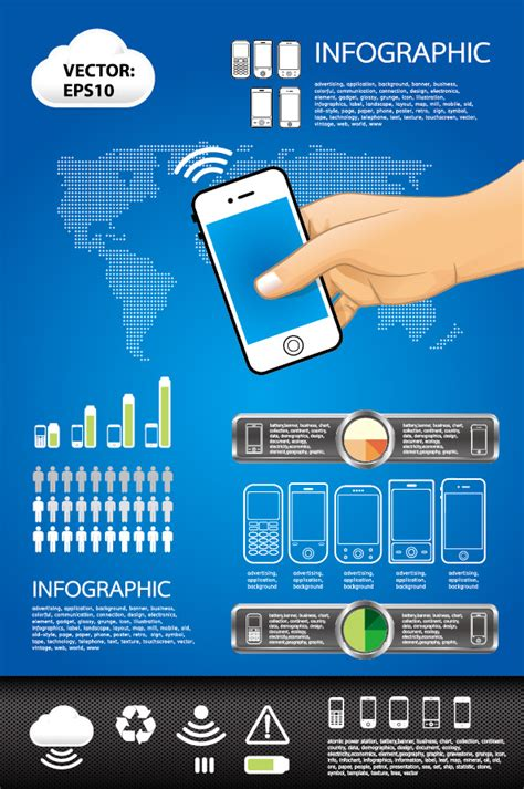 elements  phone infographics vector set vector