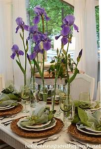 Spring Table Setting with Iris Centerpiece, Twig Chargers