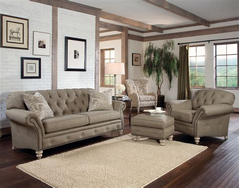 rustic modern living room with light brown tufted sofa