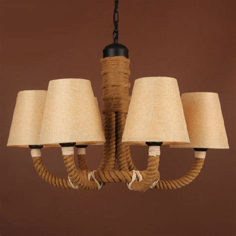 antique hemp rope and fabric shades chandelier 9509