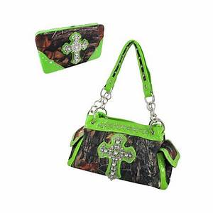 Deep Forest Camouflage Rhinestone Cross Purse Wallet Set