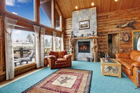 Log Cabin Living Room Stock Photo. Image Of Floor, Estate