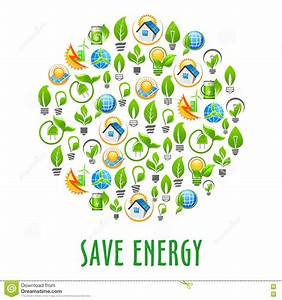 Energy Saving Round Symbol With Green Power Icons Stock