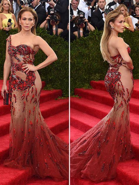 jennifer lopezs met gala dress sexy red sheer