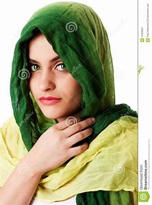 Face With Green Eyes And Scarf Stock Image - Image of girl ...