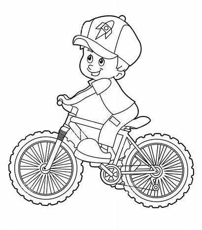 Riding Cartoon Coloring Bicycle Sepeda Kid Gambar