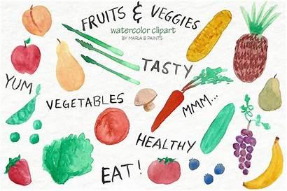 Clip Veggies Fruit Watercolor Vegetables Fruits Fresh