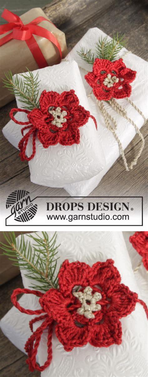 crochet poinsettia christmas flower ideas