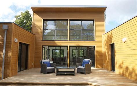 maison bois architecte en u 224 toit plat avec patio maison bois architecte