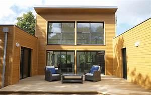 maison toit plat avec patio en u architecture With maison bois toit terrasse