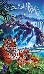 Tiger Moon Digital Art by MGL Meiklejohn Graphics Licensing