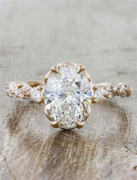 Shanel: Rose Gold Oval Diamond, Twisted Band Ring