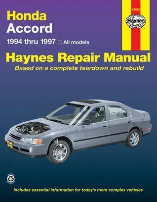free car repair manuals 1994 audi 90 electronic throttle control honda accord automotive repair manual models covered all honda accord models 1994 thru 1997