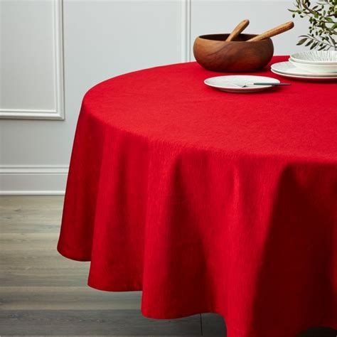 "Linden Ruby Red 90"" Round Tablecloth   Reviews   Crate and"