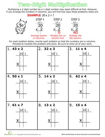 Double Digit Multiplication For 3rd Grade Educationcom