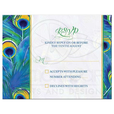 peacock feather wedding rsvp card watercolor blue green yellow