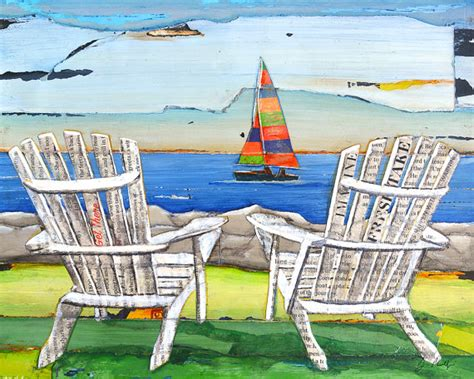 adirondack chairs sailboat lake print or canvas