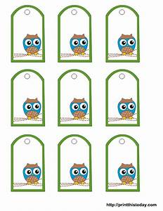 Free owl baby shower favor tags templates for Free printable gift tags templates
