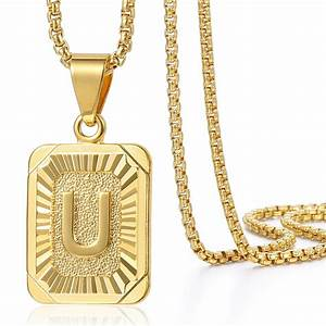 mens women chain pendant necklace gold filled square With mens letter necklace