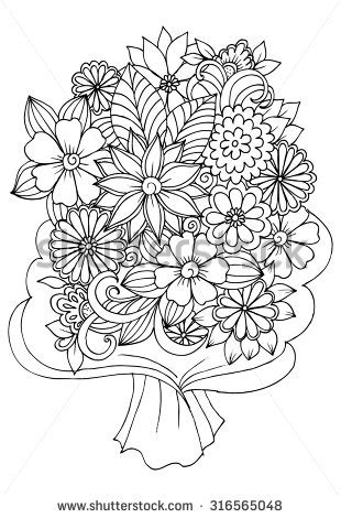 bouquet flowers wrapping paper coloring book
