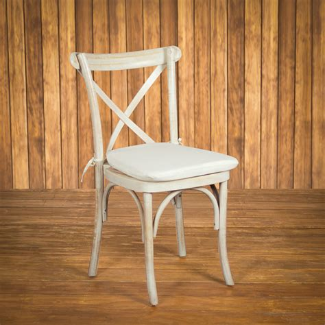 Whitewash Cross Back Chair Rental  Houston Peerless