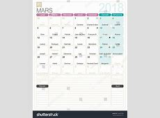 March 2018 French Printable Monthly Calendar Stock Vector