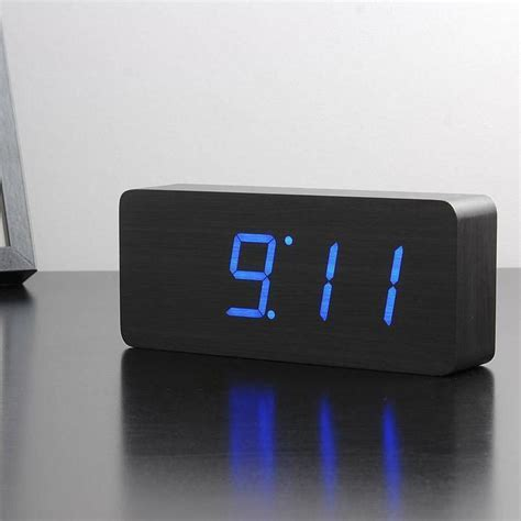 Wooden LED Alarm Clock   Large Black 21cm   digital