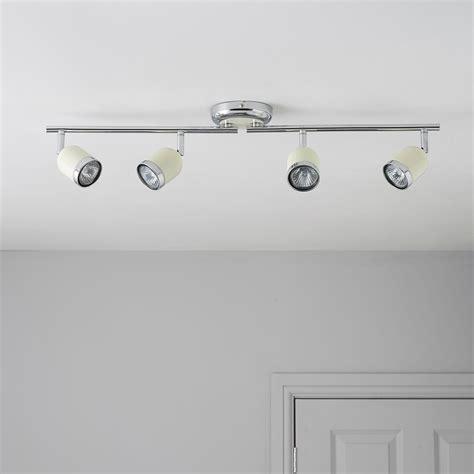 b q kitchen ceiling lights jena brushed chrome effect 4 l bar spotlight 4222