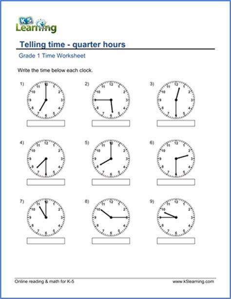 grade 1 math worksheet telling time quarter hours k5 learning