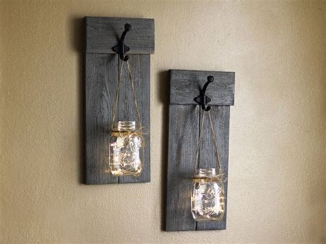 Distressed Wooden Sconce Set Lighted Wall Sconces Mason Jar