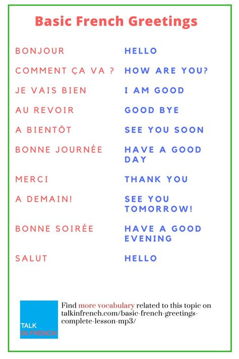 Basic French Greetings (Complete Lesson with MP3 ...