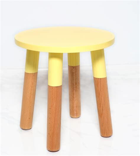 soft yellow stool in toddlers stool in white by pomme furniture and decor