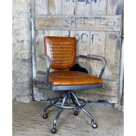aviation aviator industrial tan leather office chair