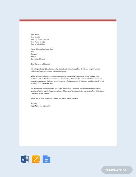 resignation letter  reason template   word