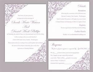 diy wedding invitation template set editable word file With free printable wedding invitations lavender