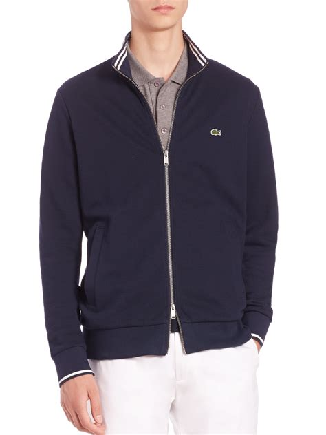 zip front sweater lacoste zip front sweater in blue for lyst