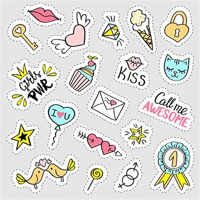 Girly Stickers Doodle Drawn Vector Trendy Hand