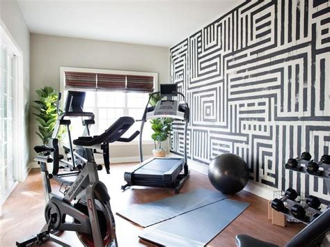 black and white home with graphic painted wall contemporary media room sherwin