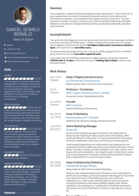 online marketing resume sles and templates visualcv