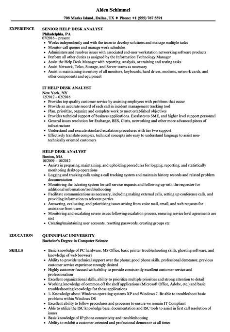 Resume Help by Help Desk Analyst Resume Sles Velvet