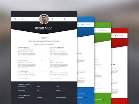imran resume free resume template with 4 colors options