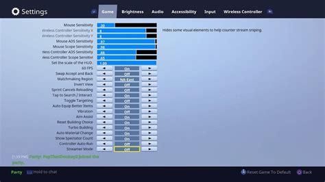fortnite console settings sensitivity xboxps