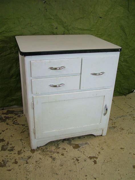 Vintage 1950s Porcelain Enamel Top Wood Kitchen Shop