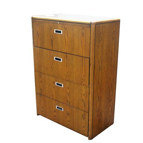 Vintage Four Drawer Wood File Cabinet  Ebay