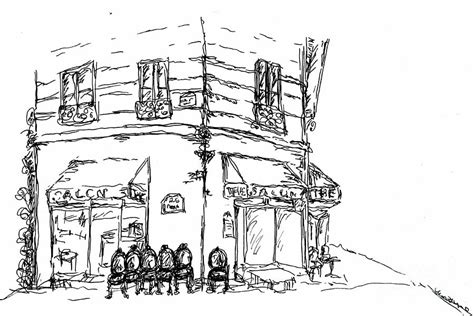 paris cafe drawing by pamela canzano