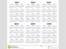 Vector Calendar Templates 2011, 2012, 2013, 2014, 2015