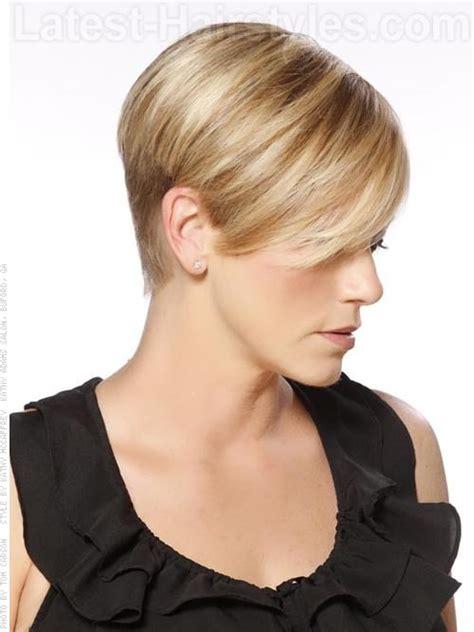 high profile cute blonde short cut   ears side view