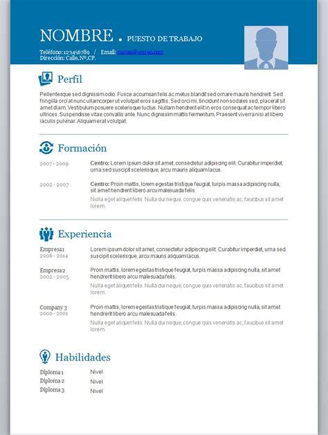 Templates De Resume En Espanol by Modelos De Curriculum Vitae En Word Para Completar