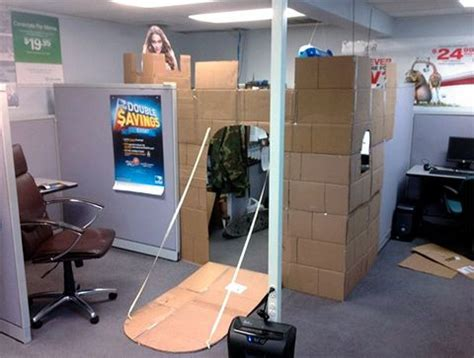 cube castle office cubicle converted   cardboard