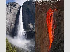 Yosemite waterfall turns to 'flowing lava' آبشار میں